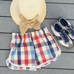 Red, White & Blue cotton shorts
