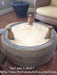 Must try this tire ottoman idea. I think it would be perfect for the family room or outside.Tire ottoman The chick that did this is selling the instructions now but I think I could figure it out: Another Tire Saved from the Landfill OMG PERFECT for the ti Diy Home Crafts, Diy Home Decor, Tire Seats, Tire Chairs, Tire Table, Tire Craft, Tire Furniture, Recycled Furniture, Furniture Design