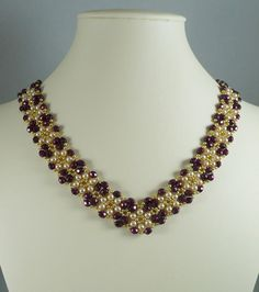 Woven Necklace V Style Collar Burgundy by IndulgedGirl on Etsy