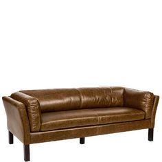 BARITONE Sofa 3 Sitzer Leder oliv-braun - Sofas