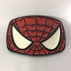 Spiderman Belt Buckle Vintage Cosplay Comic Book Web Mask Black Red White Enameled Metal Spider Man by KoolKoolThangs on Etsy