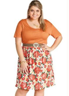 Vestido Plus Size Laranja Floral - Posthaus