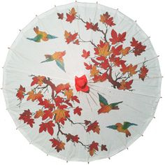 Chinese Bamboo and Paper Parasols, plain colours, patterned or decorated, buy online at Brolliesgalore.co.uk