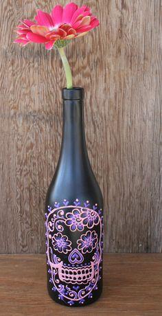 Sugar skull wine bottle vase.