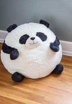 Panda Party Bean Bag Chair - Multi, Dorm Decor, Kawaii, Quirky, Best, Black, White