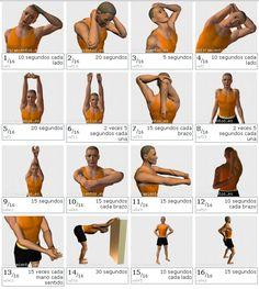 Ejercicios 1, 2 y 3 ; cuello, movimientos suaves y nunca forzados.  Ejercicios de 4 a 9, 14 y 15: musculatura de hombros y espalda, tiempo recomendado, que oscila de los 5 a 20 segundos. Ejercicios de 10 a 13: los brazos. Ten en cuenta que la cantidad de horas trabajando con el teclado y el ratón fatigarán a tus músculos y un buen estiramiento les vendrá genial.