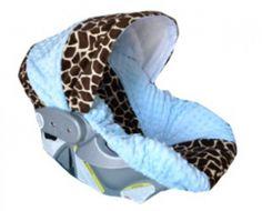 Lt Blue & Giraffe Minky Infant Car Seat Cover