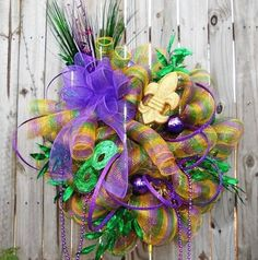 mardi gras wreaths made with deco mesh | Mardi Gras Wreath Geo Mesh Purple New Orleans Door Wreath - ebay $129 ...