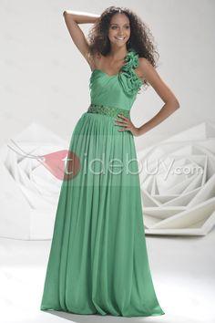 ラインワンショルダーイブニング/ウェディングドレス床長さ素晴らしい