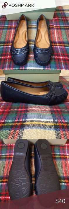 Nurture Loafer Navy loafer with glove soft leather upper. Highly padded insole for comfort. Braided leather accent at front of shoe. Smoke free home. Nurture Shoes Flats & Loafers