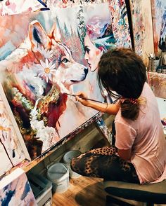 Dimitra Milan discovered by 🌹 Maya 🌹 on We Heart It Artist Life, Artist At Work, Painting Inspiration, Art Inspo, Dimitra Milan, Ft Tumblr, Artist Aesthetic, Design Tattoo, Paintings
