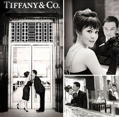 breakfast at tiffanys engagement photo shoot black and white wedding photos wedding ideas wedding inspiration wedding photos wedding party blog
