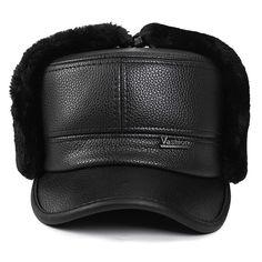 Unisex PU Leather Earflap Earmuff Military Bomber Hat Faux Fur Plush Linen Pilot Trapper Ruissan Cap at Banggood