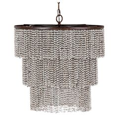 "728  This gorgeous gray chandelier a three tier silhouette of cascading gray coco beads. Chic and transitional.  Height 22"" Width 22"" Depth 22"""