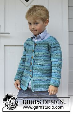Little Lord - Crochet jacket in DROPS Fabel. - Free pattern by DROPS Design Pull Crochet, Gilet Crochet, Crochet Jacket, Crochet Cardigan, Knit Crochet, Crochet Toddler, Crochet For Boys, Boy Crochet Patterns, Knitting Patterns