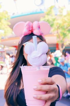 "It's a universally acknowledged truth that a snack with Mickey Mouse ears is superior to one without, and Disney World's ""millennial pink milkshake"" Comida Disney World, Disney World Food, Walt Disney World, Disney Worlds, Disney Desserts, Disney Snacks, Disney Trips, Disney Recipes, Disney Vacations"