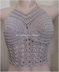 Celeida Artes em Fios: Cropped de crochê prata!