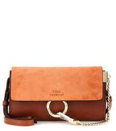 Faye Mini brown leather and suede shoulder bag