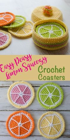 Free crochet coasters: FREE pattern for lemon coasters. Love these! So cute! Easy and free crochet pattern!