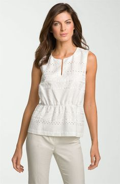 @Tiffany Huey Idea#2 / As we get closer to summer this type of blouse would be great with the Nanette skirt.     Classiques Entier® Eyelet Silk & Cotton Blouse | Nordstrom