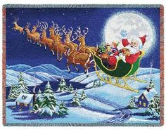 Holiday throw showing Santa and reindeer in flight.
