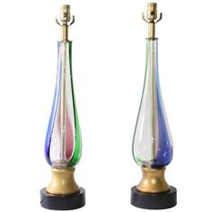 Mid-Century Murano Glass Table Lamps, Attributed to Fulvio Bianconi for Venini | From a unique collection of antique and modern table lamps at https://www.1stdibs.com/furniture/lighting/table-lamps/