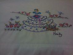 Garden Girl Embroidery Pillow Case - via @Craftsy