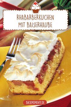 Rhabarberkuchen mit Baiserhaube Homemade rhubarb cake with meringue topping from . Baking Recipes, Vegan Recipes, Rhubarb Cake, New Cake, Yummy Cookies, Sweet Recipes, Bakery, Cheesecake, Food And Drink