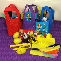 Wiggly Party Musical Birthday Favors Bags... Skittles, Sticker Sheet (@birthdayexpress), Feather swords, Guitar Bubbles, shakey eggs, flutes, tambourines, lip whistles, and finger-puppet Wags.  @WigglesOfficial #TheWiggles