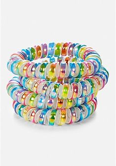 Justice is your one-stop-shop for on-trend styles in tween girls clothing & accessories. Shop our Spiral Hair Ties - 4 Pack. Claire's Accessories, Girls Hair Accessories, Scrunchies, Coil Hair Ties, Hair Rubber Bands, Hair Tie Bracelet, Headband Styles, Shiny Hair, Girl Hairstyles