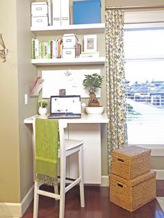 23 Ideas diy desk bookshelf combo for 2019 - DIY Desk Ideen Tiny Office, Small Space Office, Corner Office, Office Nook, Small Spaces, Office Spaces, Corner Desk, Desk Nook, Small Workspace