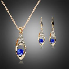 5.13$  Watch now - http://dinve.justgood.pw/go.php?t=183724403 - A Suit of Rhinestoned Water Drop Necklace and Earrings 5.13$
