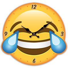 Emoji LOL Wall Clock.  Made from MDF  Requires 1 AA battery (Not supplied)  Dimensions: Height 27.5cm Width 30cm Depth 4cm  Delivery prices available on checkout
