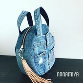 Bag of old jeans ~ DIY Tutorial - Salvabrani Denim Backpack, Denim Purse, Small Backpack, Denim Ideas, Round Bag, Old Jeans, Recycled Denim, Handmade Bags, Purses And Bags