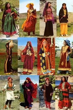 Afghan dresses from different regions of Afghanistan