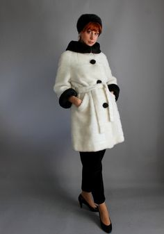 1960s White Dark Brown Faux Fur Coat. by gogovintage