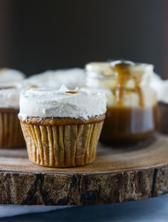 Unique Thanksgiving Desserts | Crate and Barrel Blog - Pumpkin Cupcakes with Salted Caramel Frosting
