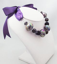 Now on Etsy ! Artisan Jewelry | Purple beads and crystals necklace by Mademoizelle Fleur