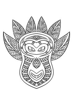 Free coloring page coloring-adult-african-mask-6. Coloring picture of an African mask - 6