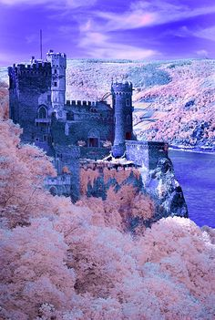 Rheinstein Castle above the Rhine River, Germany, photographed in infra-red