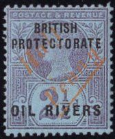 Rare Niger Coast Stamps -1893 ½d on 2½d, type 7, surcharge in red, variety diagonal surcharge.