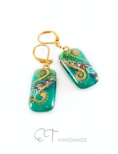 Teal Murano glass Earrings painted with Gold  di EThandmadeshop