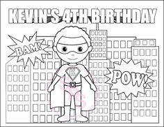 Personalized Printable SuperHero boy girl group Birthday