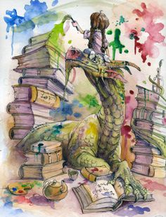 dragon + books + paint = my imagination