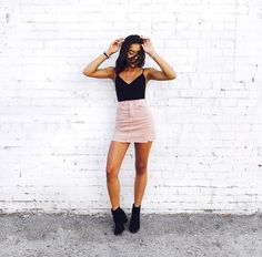 Trendy Skirt Pink Outfit Teen Fashion Pink Sweatshirt With Plaid Mini Skirt is the best How To Wear Fashion Girl Latest Fashion For Women, Teen Fashion, Fashion Outfits, Fashion Trends, Fashion Women, Fashion Online, Fashion Top, Tumblr Outfits, Mode Outfits