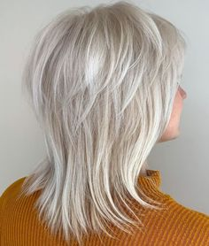 60 Best Variations of a Medium Shag Haircut for Your Distinctive Style Silver White Wispy Hairstyle Medium Hair Cuts, Short Hair Cuts, Medium Hair Styles, Curly Hair Styles, Medium Shag Haircuts, Shag Hairstyles, Haircut Medium, Popular Hairstyles, Modern Shag Haircut