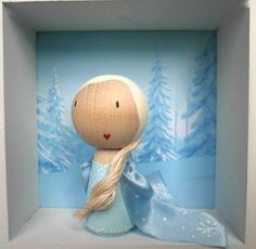 Frozen, Elsa the Ice Queen Birthday Cake Topper - hand painted wooden doll