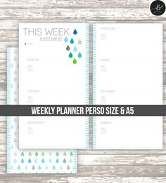 Weekly planner • week on two page calendar• undated • Filofax personal size • A5 • DIGITAL printable by AlaBelleEtoileDesign on Etsy