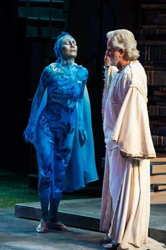 Melinda Parrett (left) as Ariel and Henry Woronicz as Prospero in the Utah Shakespeare Festival's 2013 production of The Tempest. (Photo by Karl Hugh. Copyright Utah Shakespeare Festival 2013.)