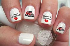Trucker's Girlfriend Semi Truck Red Nail Art Decals * See this great product.